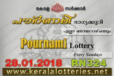 Kerala Lottery Results  28-Jan-2018 Pournami RN-324 www.keralalotteries.net