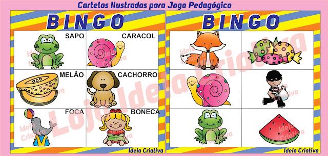 Cartelas Ilustradas para Jogo Pedagógico  Bingo de Sons Iniciais