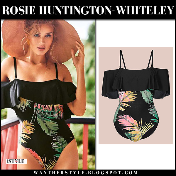 Rosie Huntington-Whiteley in black leaf print swimsuit marks and spencer summer 2018 collection