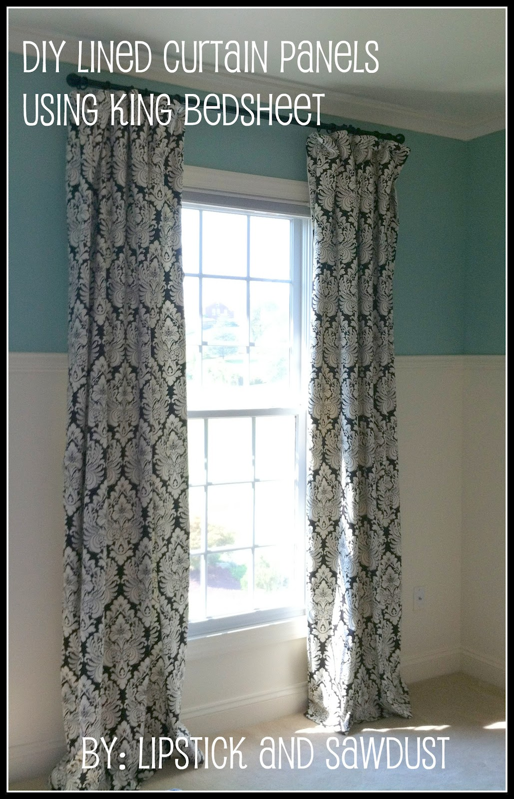 How To Make Lined Curtain Panels Lipstick And Sawdust Diy Curtain Panels Using Bedsheets As Lining