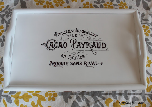 Easy DIY Home Decor: Make this French Label Goodwill Tray Makeover Project. Quick and easy! This beautiful tray can be used in every room in the house!