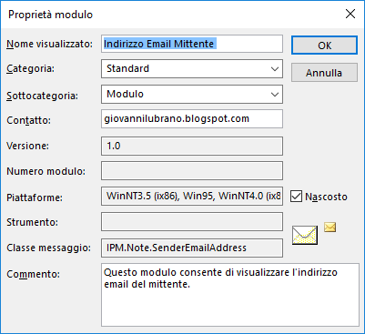 Outlook, Proprietà modulo