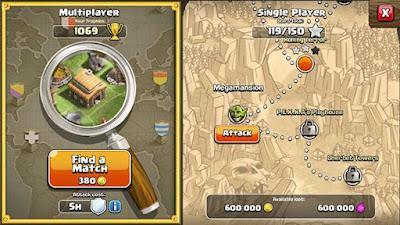 Tampilan Clash of Clans Multiplayer dan Single Player