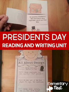 Presidents Day ELA Mini Unit- February Activities and FREEBIES- activities for primary students- February reading, math, writing, social studies and more! Valentine's Day, Presidents Day, Black History Month, Dental Health Month