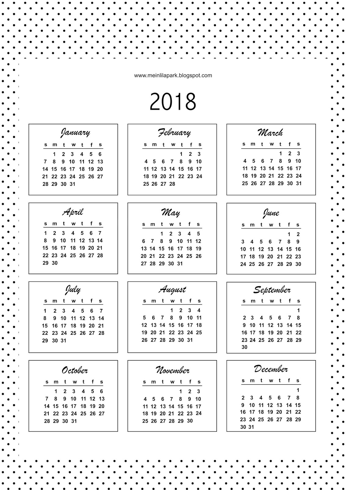 Calendar Bullet Journal 2018 : Free printable bullet journal templates calendar