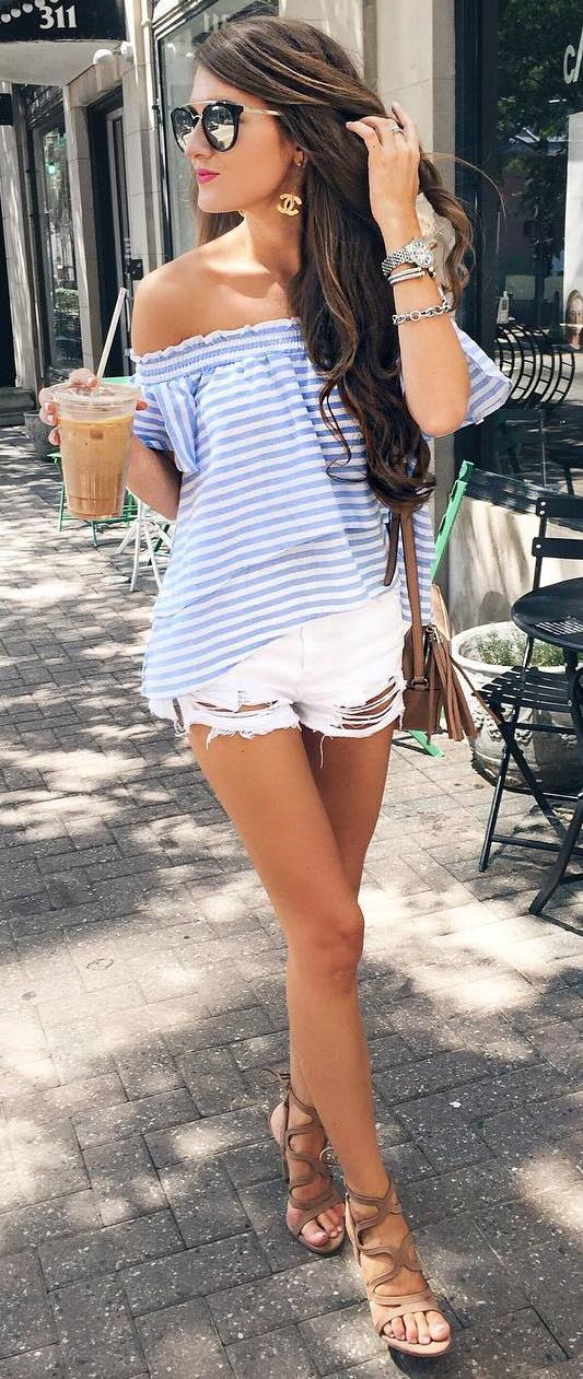 simple summer outfit: top + bag + white shorts