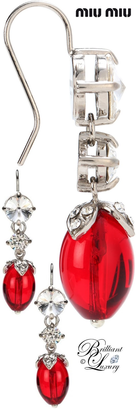 Brilliant Luxury ♦ PANTONE Fashion Color SS 2019 ~ Fiesta ♦ Miu Miu crystal embellished earrings #red