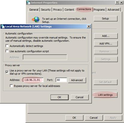 Change Internet Proxy Settings