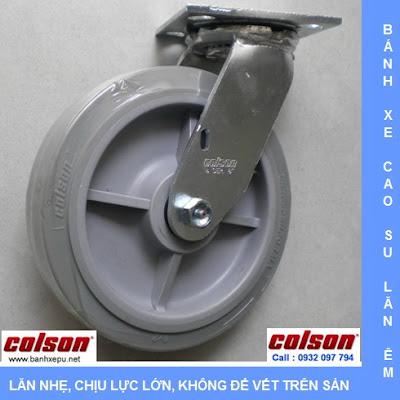Bánh xe cao su chịu lực 304kg Colson càng xoay phi 200 | 4-8199-459 www.banhxeday.xyz