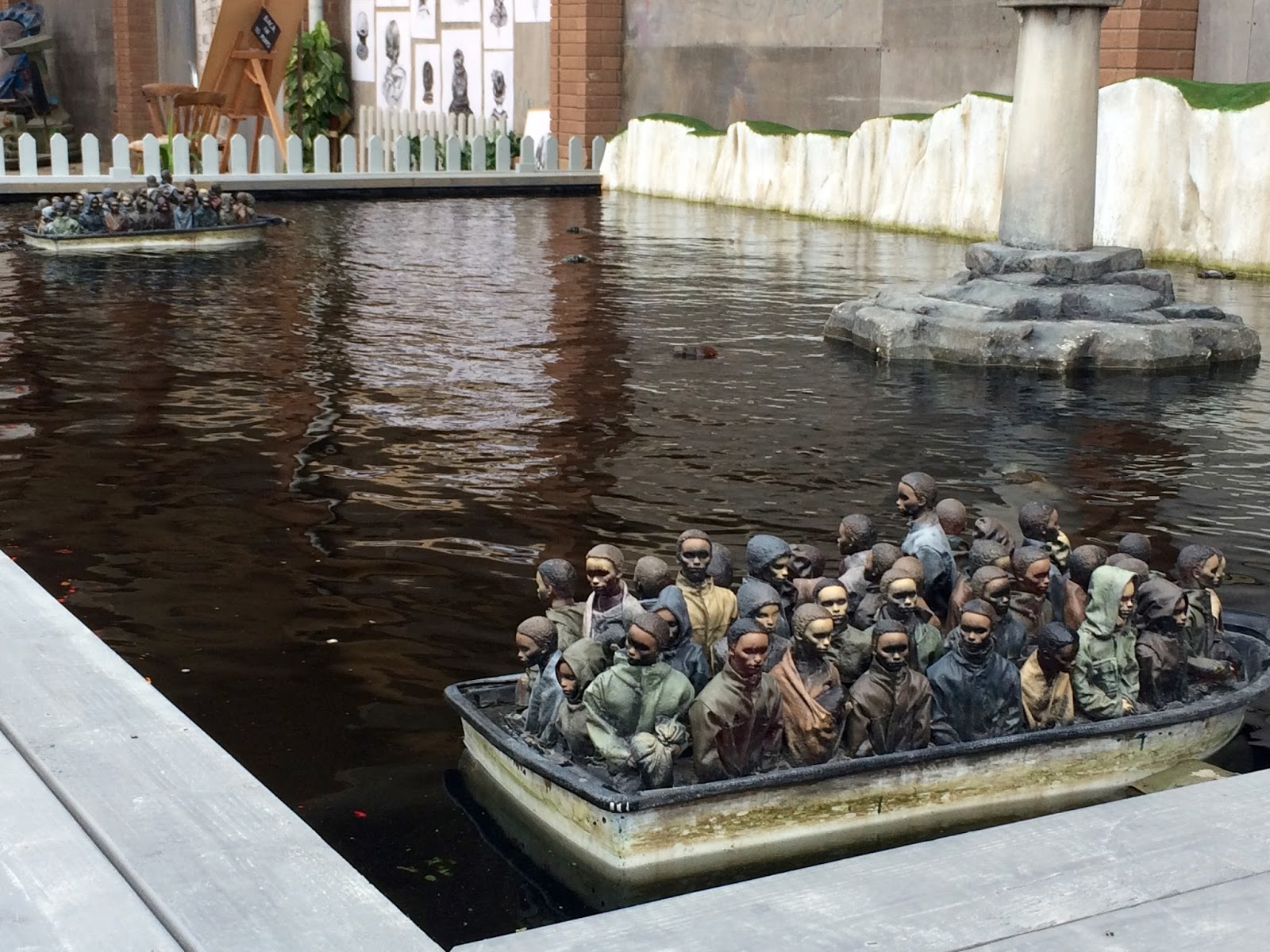 Banksy Boat Installation at Dismaland with Migrants