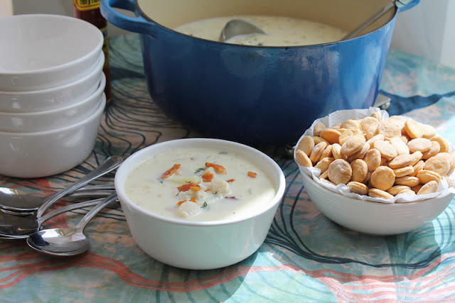 Food Lust People Love: My creamy crab and scallop chowder begins with frying bacon, as all the best recipes do. Pour in the whipping cream, add a whole pound of crabmeat AND a pound of bay scallops, for a deliciously rich mouthful in every spoon.