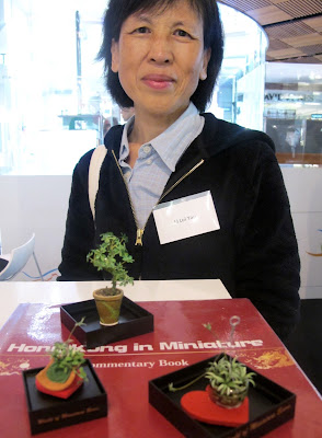 Woman standing in front of a selection of dolls' house miniature plants, arranged on the guest book for the exhibition Hong Kong in Miniature.