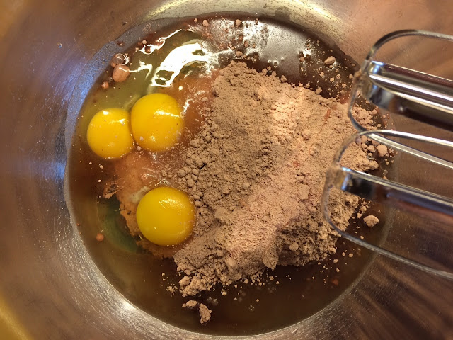 Cake mix, eggs and oil in a mixing bowl