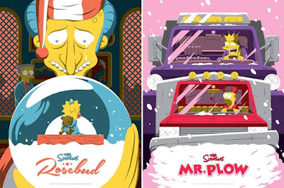 "Dark Ink Art Exclusive The Simpsons ""Mr. Plow"" & ""Rosebud"" Screen Prints by Florey x Acme Archives"