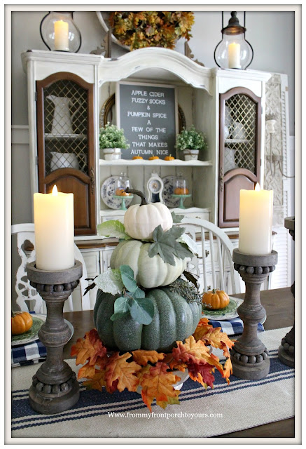 French Country Farmhouse Fall Dining Room-Centerpiece-Pumpkin Topiary-From My Front Porch To Yours