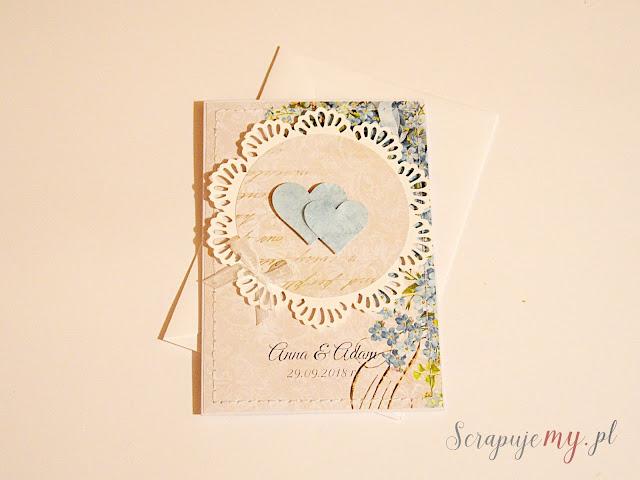 niebieska kartka ślubna, kartka ślubna z sercami, personalizowana kartka ślubna