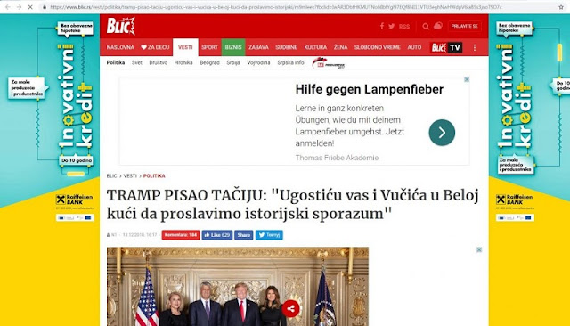 blic screeshot website showing trump, melani and thachi and lumnije