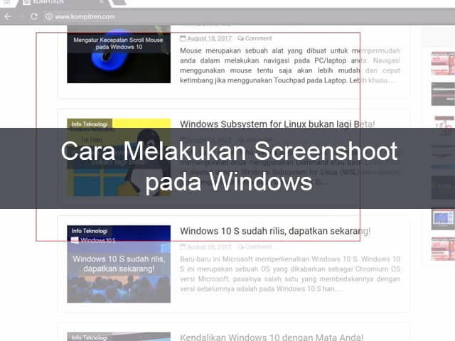 Cara Melakukan Screenshoot (Tangkapan Layar) di Windows 1