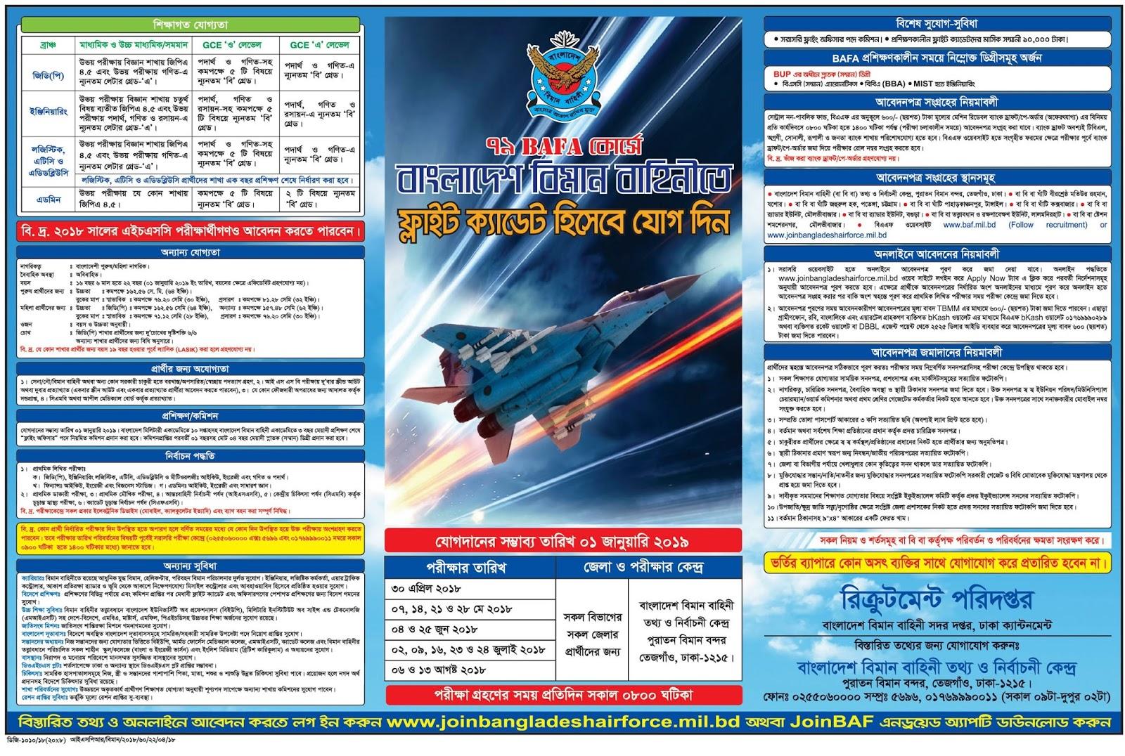 Bangladesh Air Force BAFA-79 Course Cadet Recruitment Circular 2018
