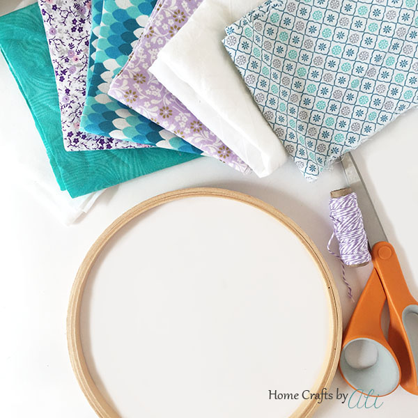 crafting supplies needed to make fabric strip chandelier