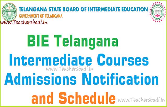 BIE Telangana,Intermediate admissions,Schedule
