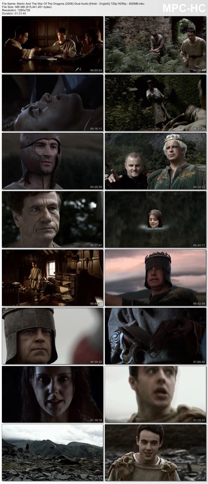 Merlin And The War Of The Dragons (2008) [Hindi – English] 720p HDRip 600MB Desirehub