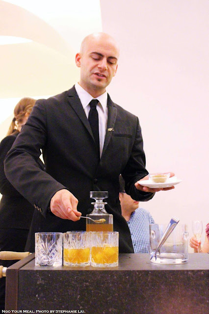 Waiter making Bloody Mary on the Rocks at ABaC Restaurante in Barcelona
