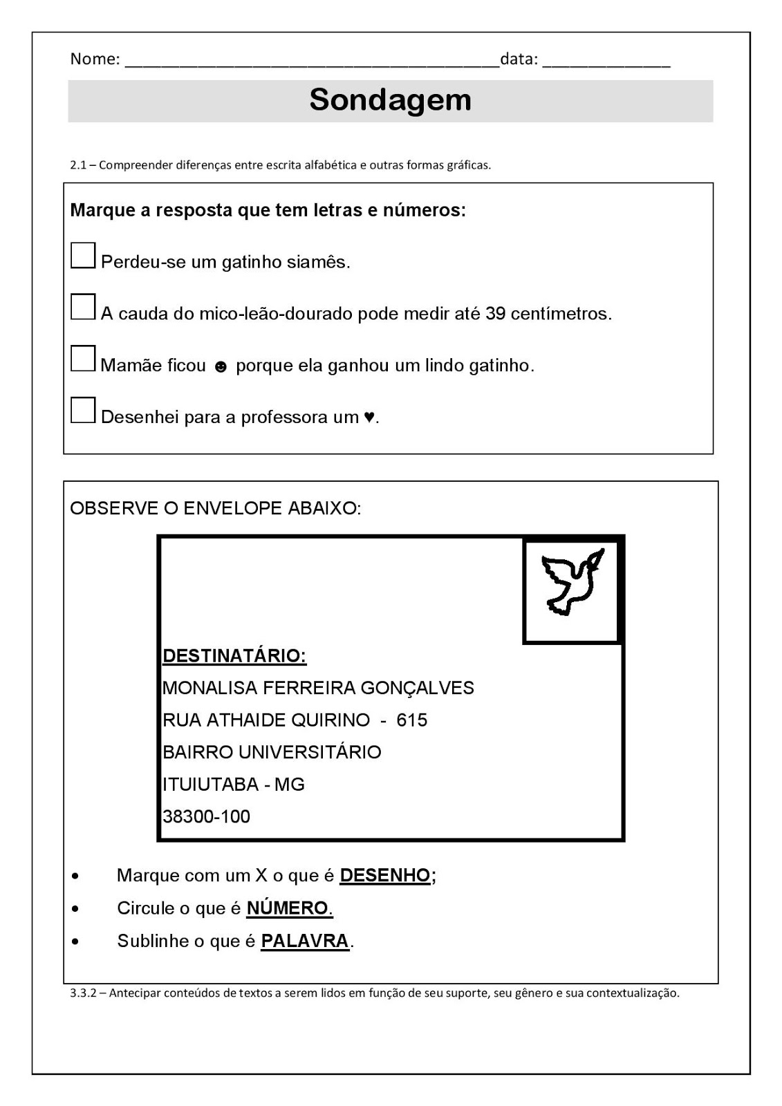 sondagem respondendo com a tabela 2 ano atividades pedagogica suzano
