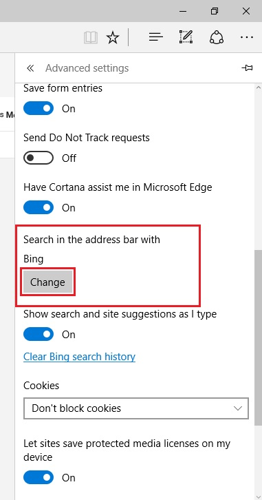 Change default browser in edge