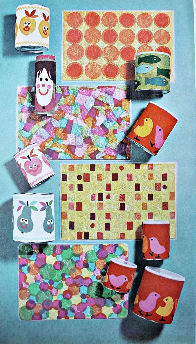 1960s foil and tissue paper place mats vintage kids craft from va voom vintage