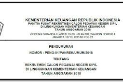 REKRUTMEN CALON PEGAWAI NEGERI SIPIL DI LINGKUNGAN KEMENTERIAN KEUANGAN TAHUN ANGGARAN 2018