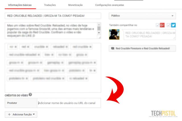 Adicionando créditos na descrição do vídeo - Youtube