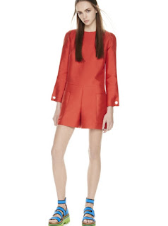 2017 Cruise Collection Missoni red long sleeve romper and blue strappy flats