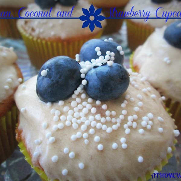 Pecan, Coconut and Strawberry Cupcakes