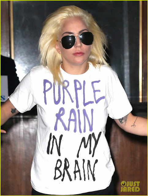 As worn by Lady Gaga - 'Purple Rain In My Brain' T-shirt.