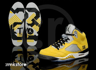 undefeated x new products arrives Air Jordan 5 Retro Tokyo 23 Yellow White Black shoes