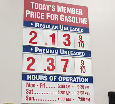 Costco gas for August 16, 2016 at Redwood City, CA