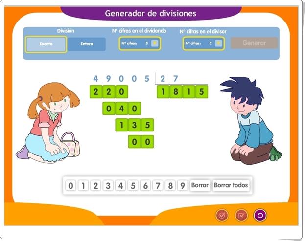 """""""Generador de divisiones por 1 y 2 cifras"""" (Aplicación interactiva de Matemáticas de Primaria)"""
