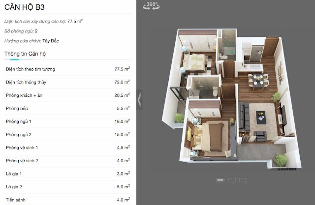 Thiết kế căn hộ B3 chung cư The Legend