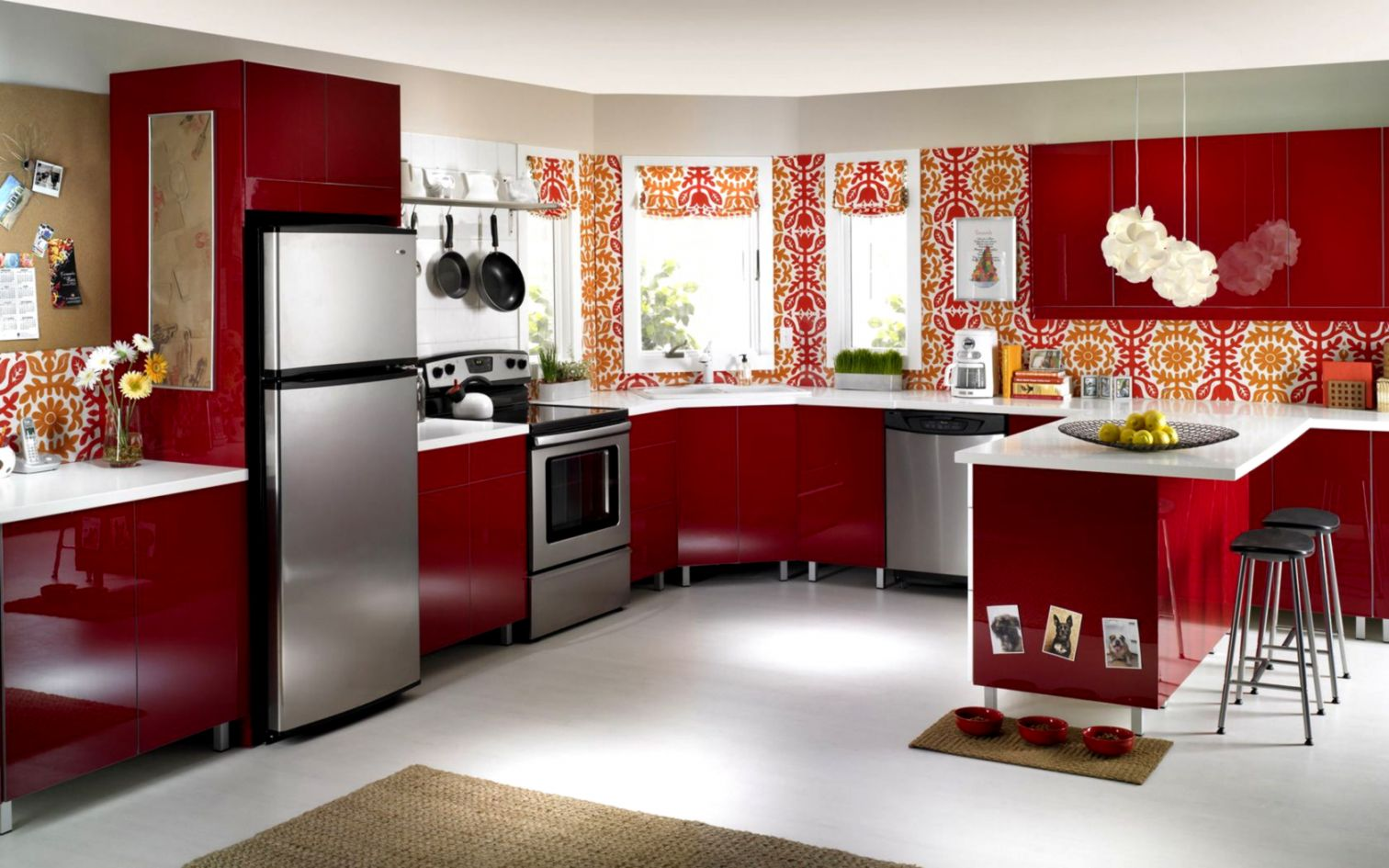 Red Kitchen Furniture Wallpaper Hd Pack Wallpapers