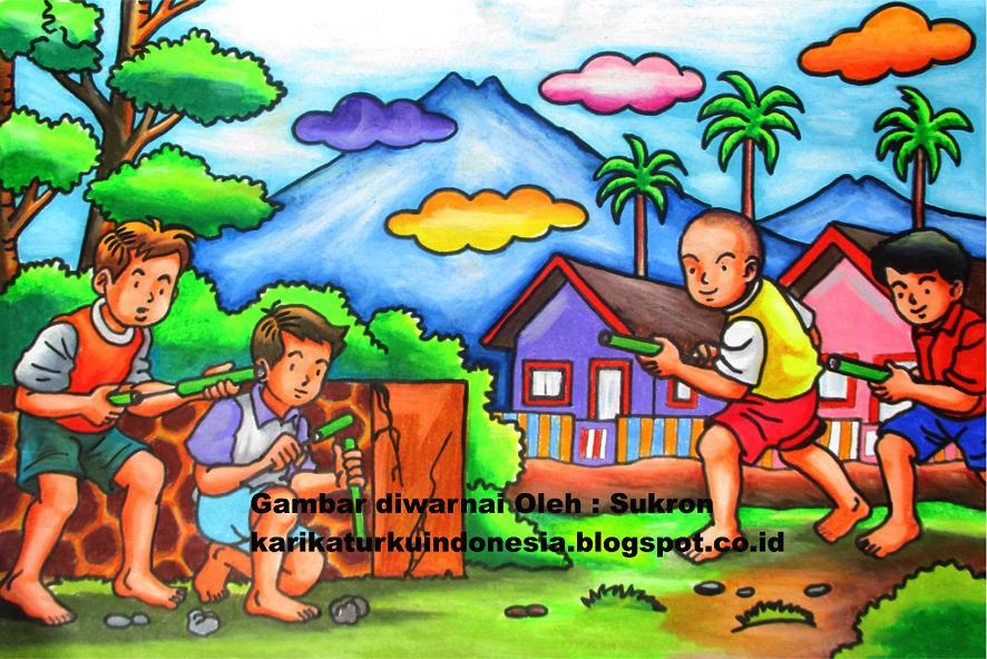 Karikaturku Indonesia Mewarnai Permainan Tradisional Menggunakan Pastel