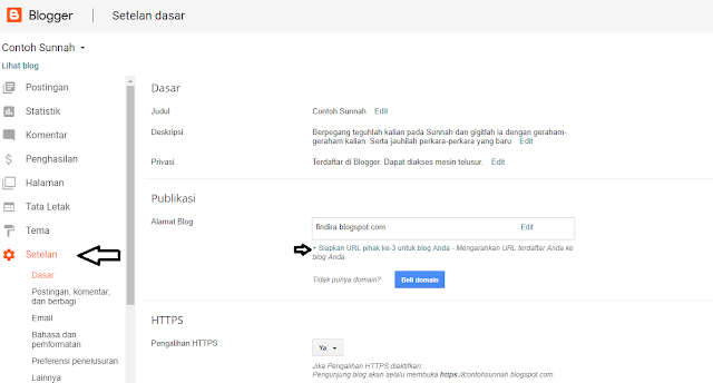 Siapkan URL pihak ke 3 untuk blog Anda
