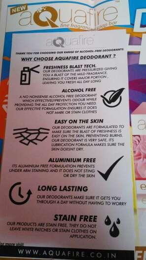 Aquafire Deodorant Details & Price