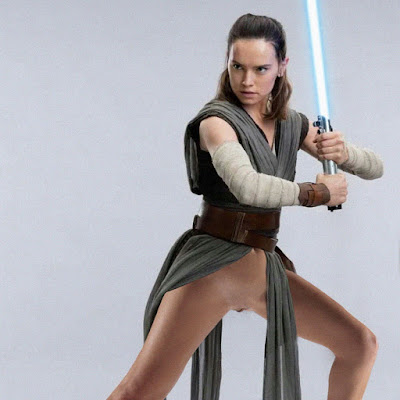 Daisy Ridley pantyless upskirt on Star Wars: The Last Jedi photo shoot HQ