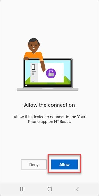 التطبيق رفيق هاتفك مع مربع حول زر السماح.