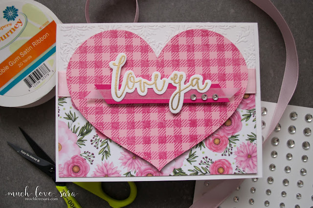Pretty florals and pink flannel are combined on this sweet Valentine.  Handmade and stamped with Fun Stampers Journey Flannel Life background stamp, and Everyday Script stamp and die set.