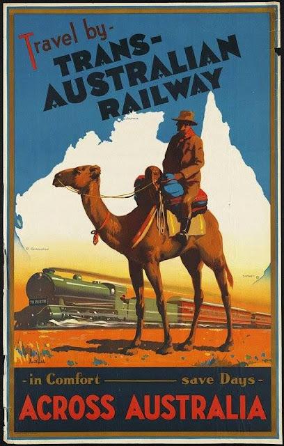 Anunci dels ferrocarrils australians amb el dibuix d'un camell