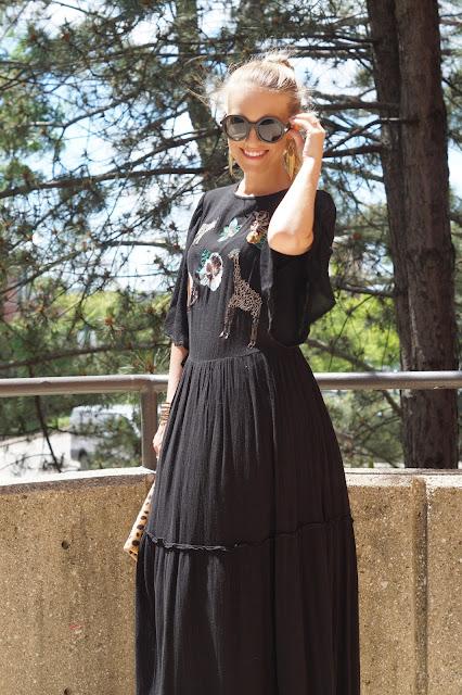 Zara maxi dress chicago blogger
