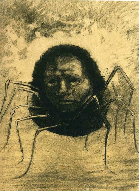 オディロン・ルドン、不気味な「目」を描いた画家の作品、10枚【a】 泣く蜘蛛  1881