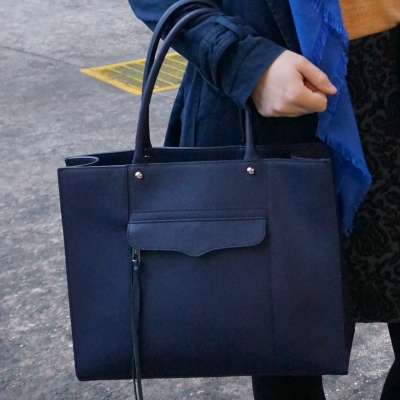 rebecca minkoff moon navy medium MAB tote bag for work with macintosh jacket | awayfromtheblue